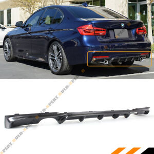 For 2012 18 Bmw F30 Carbon Fiber Mp Style Dual Exhaust Tips Rear Bumper Diffuser