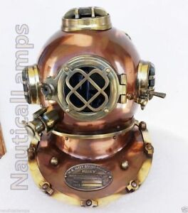 Vintage Us Navy Mark V Solid Steel Brass Diving Divers Helmet Full 18 Gift