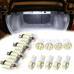 13pcs White Led Light Interior Dome License Plate Lamp Bulbs Kit For Car