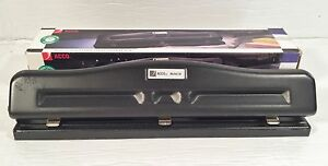 Acco Model 20 Black Adjustable 3 hole Punch W catch Tray
