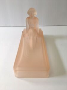 Art Deco Nymph Card Desk Tray Ashtray Soap Dish Frosted Pink Glass Usa