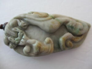 Antique Huge Chinese Carved Green W White Jade Ornament Pendant Necklace