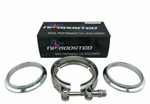 Turbo Downpipe 3 V Band Intercooler Clamp Exhaust Flanges Kit Stainless Steel