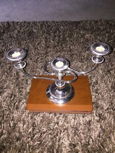 Vintage Silver Plate 3 Tapers 2 Arm Candelabra Candle Holder Made In England