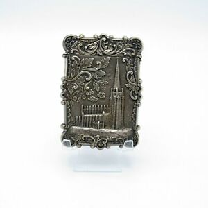 Antique Sterling Castle Top Card Case Trinity Church Wall St C 1860 1880