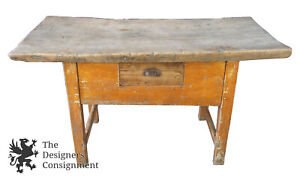 Rustic Farmhouse Butchers Block Slab Table Kitchen Island Drawer Hall Entry Shop