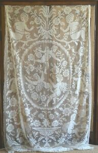 Antique French Hand Knotted Linen Filet Lace Figural Fringed Curtain