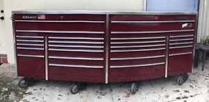 Snap On Xxl Burgundy Rare Tool Box 26 Drawers With Aluminum Top 9 Feet 2 Keys