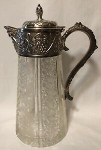 Antique Cut Glass Pitcher Wine Decanter With Repousse Silver Top