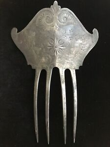 Antique Victorian Sterling Silver Hair Comb