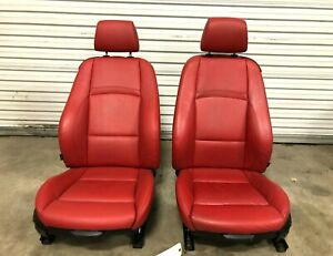 07 08 Bmw E92 Coupe 328i 335i Front Heated Sport Seats Coral Red Leather