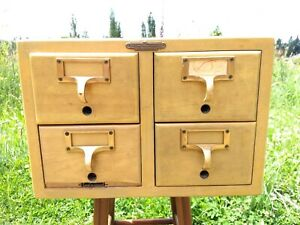 Library Index Card Catalog 4 Drawer File Box Cabinet Remington Rand
