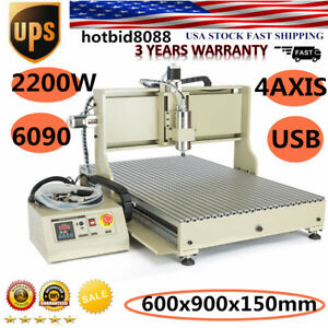 4 Axis 6090 Router Usb Engraver Machine 2 2kw Usb Woodworking Milling Usa Ship