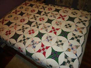 Gorgeous Vtg 9 Nine Patch Variation Quilt Stars In Circles Hand Quilted Stitched