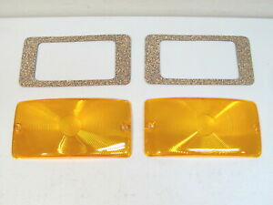 New 1959 1964 Ford Truck F100 F250 F350 Amber Parking Light Lenses Gaskets