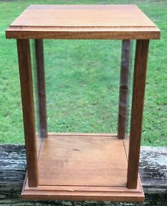 Vintage 1984 Handcrafted Solid Oak Glass Doll Display Case By Dan Pierson