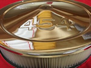 Chrome Steel 14 X 3 Air Cleaner 454 Cid Logo Mopar Chevy Stroker 4 Barrel Carb