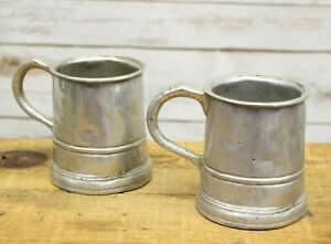 Set Of 2 Antique Pewter Pint Tankard Beer Mug 19th Century Handmade Marked 4