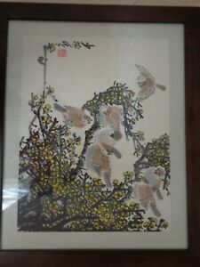 Chinese Ink Color Painting Birds Blossoms Seal Marks Signed Framed