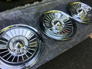 3 1957 Ford Hubcaps Excellent Driver Quality