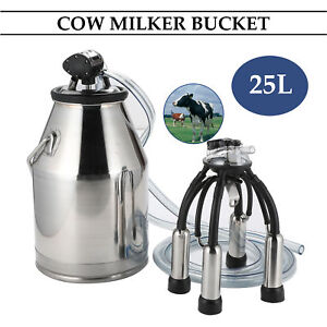 Portable Dairy Cow Milker Milking Machine Bucket Tank Barrel Stainless Steel 25l