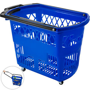 1pcs Blue Shopping Basket 75lbs Convenience Store Plastic Metal Handles Great