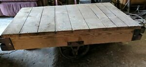 Antique Industrial Factory Railroad Cart Perfect For Coffee Table