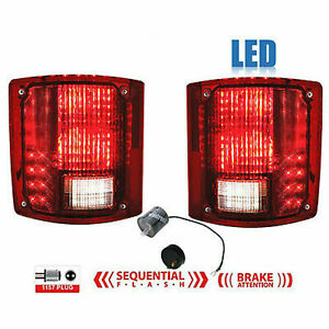 1973 1991 Chevy Gmc Truck Rear Led Sequential Tail Light Lens Pair W Flasher