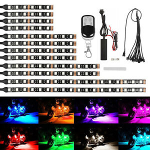 12pcs Motorcycle Rgb Led Ground Effect Light Kit Strips Neon remote Controller