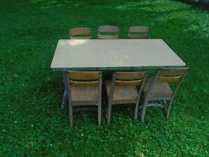 American Seating Vintage Antique School Table Desk W 6 Chairs Kids Children