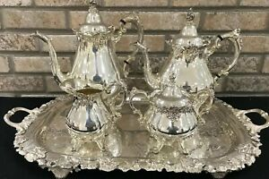 Antique Silverplate Wallace Baroque Coffee Tea Service Cream Sugar Tray 6 Pc