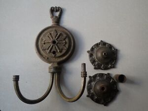 Vtg Cast Iron Wall Light Fixture Sconce Parts 2 Arm Marked Crown