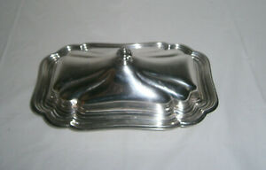 International Silver Co Chadwick Silverplate Covered Butter Dish W Glass Liner