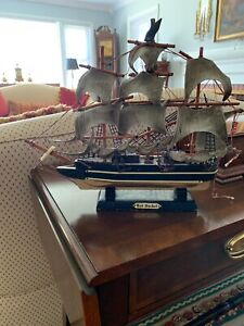 Model Ship Vintage Wooden Ship Toy Model Red Jacket 15 X 12 Inch
