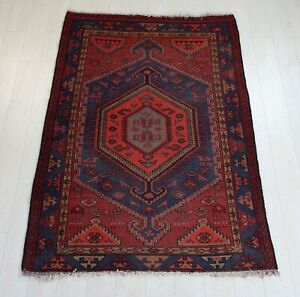 6 07x4 23ft Antique Hand Knotted Persian Tribal Area Rug Red Blue Vintage Carpet