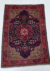 4 62x3 18ft Antique Hand Knotted Persian Tribal Area Rug Floral Blue Vintage Rug