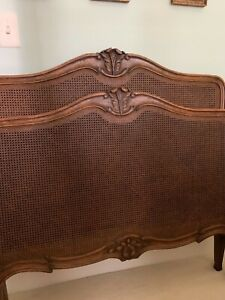 French Caned Twin Bed Pair Headboard Footboard