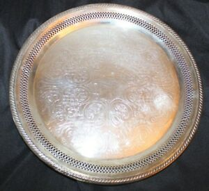 Vintage Fb Rogers Silver Co Platter Plate 1883 Tray F B Round Serving Etched 13