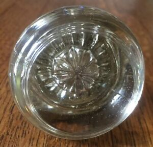 Antique Glass Copper Old Vtg Door Knob Handle Rosette Fancy Center