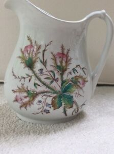 Pitcher Steubenville Moss Rose Transfer Large Ironstone 9 In Shabby Chic