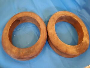 Lot Of 2 Wooden Millinery Hat Block Form Mold Brim Ring Solid Wood