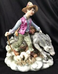 Vintage Capodimonte Boy Walking W Donkey Lamps Artist Signed