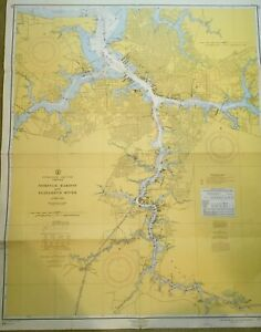 Vintage Nautical Large Chart Map Va Norfolk Harbor Elizabeth River Intercoastal