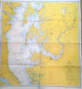 Vintage Nautical Large Chart Map Md Maryland Chesapeake Bay Cove Pt To Sandy Pt