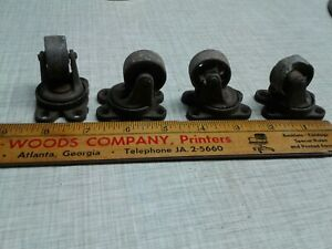 Set Of 4 Vintage Victor Industrial Antique Cast Iron Casters Swivel Wheels