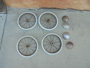 Set Of 4 10 With Metal Spokes Baby Buggy Wheels Hubcaps Industrial Decor