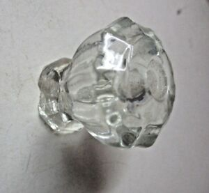 Antique Retro 10 Sided Cabinet Door Clear Glass Pull Knob 1 5 16 Width See Cond