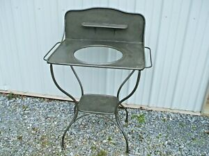 Antique Metal Wash Stand Shabby Chic French Farmhouse