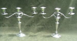Antique Pr Sheffield Silver Plate 3 Arm Candelabra Candlesticks