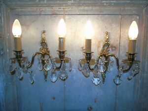 French A Pair Of Patina Bronze Crystals Wall Light Sconces Vintage